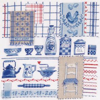 ma cuisine bleue fa on couture de dmc casa cenina. Black Bedroom Furniture Sets. Home Design Ideas