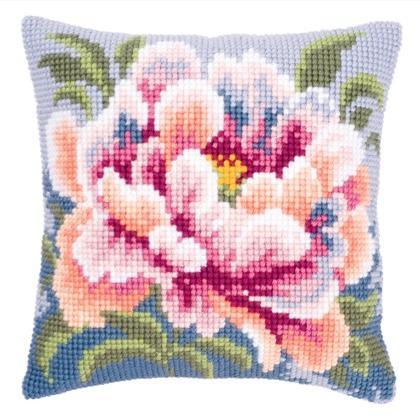 coussin fleur rose et bleu de vervaco coussins kit au point de croix kits casa cenina. Black Bedroom Furniture Sets. Home Design Ideas