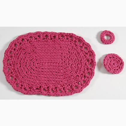 Kit set de table piemonte fuchsia de dmc kit tricot et - Set de table crochet ...