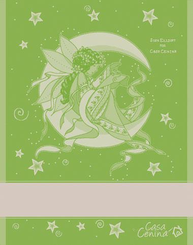 Serviette little stitching fairy vert fonc de tessitura artistica chierese pour la cuisine - Serviette en papier vert fonce ...