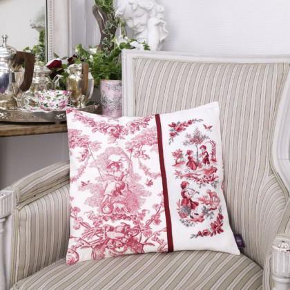 coussin toile de jouy rouge aida de les brodeuses parisiennes les brodeuses parisiennes. Black Bedroom Furniture Sets. Home Design Ideas