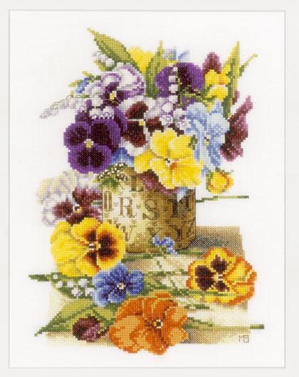 pot of pansies de lanarte - marjolein bastin - kit au point de croix