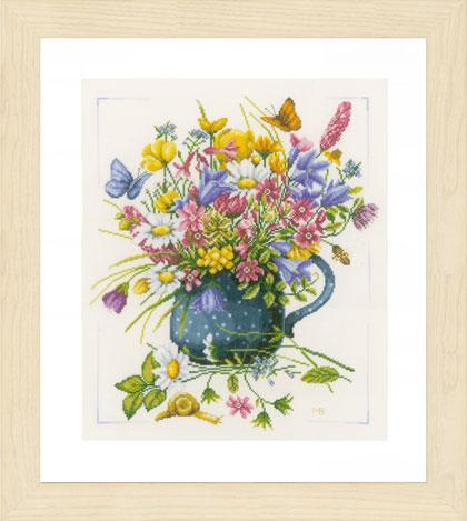 vase de fleurs de lanarte - marjolein bastin - kit au point de croix