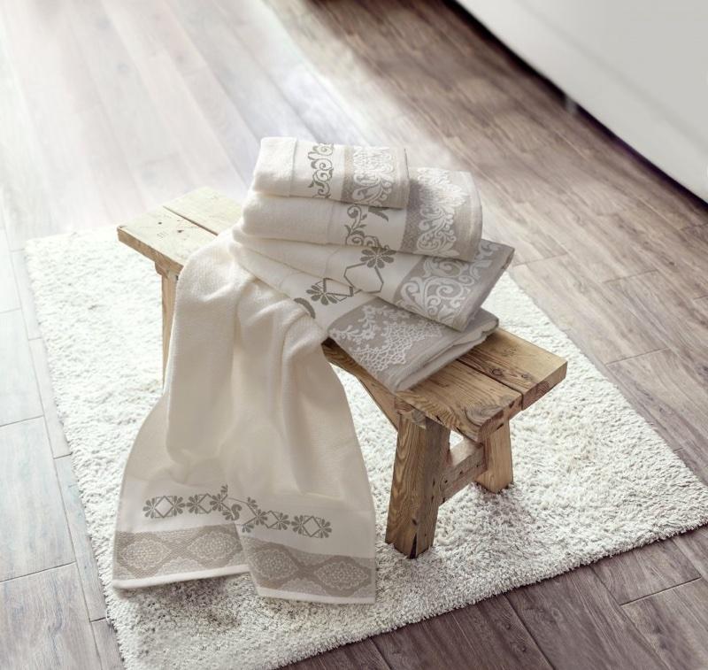 lot de 2 serviettes coton lin laisse de dmc pour la salle de bain supports broder. Black Bedroom Furniture Sets. Home Design Ideas